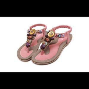 NWOT Siketu Bohemian Pink Beaded Thong Sandals